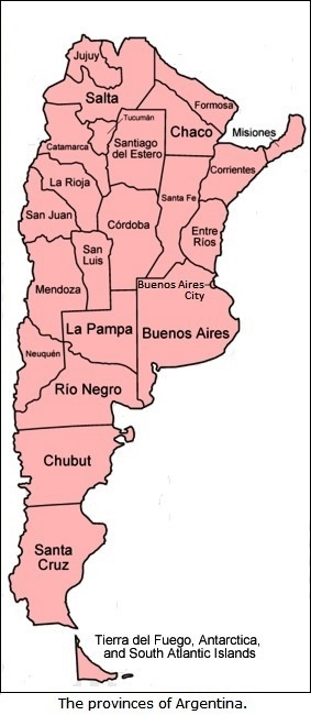 The provincies of Argentina.