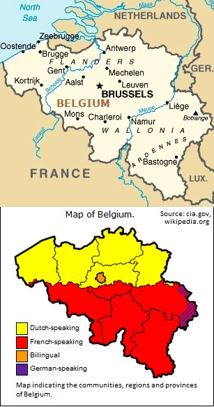 Map of Belgium.