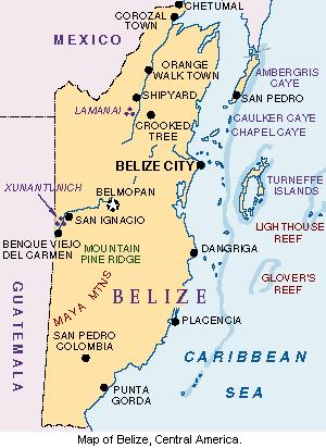 Map of Belize.
