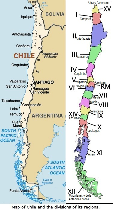 Map of Chile and the divisions of its regions.
