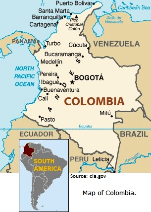 map of colombia. Map of Colombia.