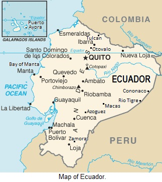 Map of Ecuador.