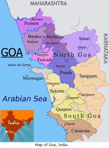 Map of Goa, India.