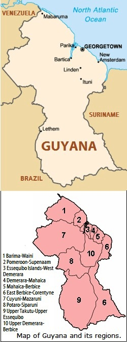 map of guyana showing the towns. Useful Information on Guyana Map of Guyana.