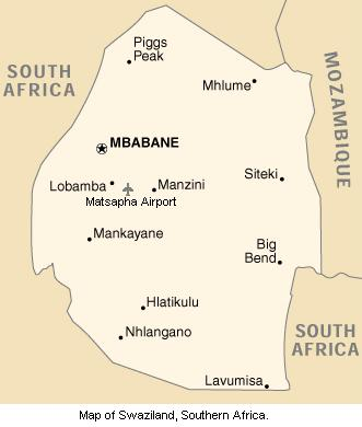 Map of Swaziland, Southern Africa.
